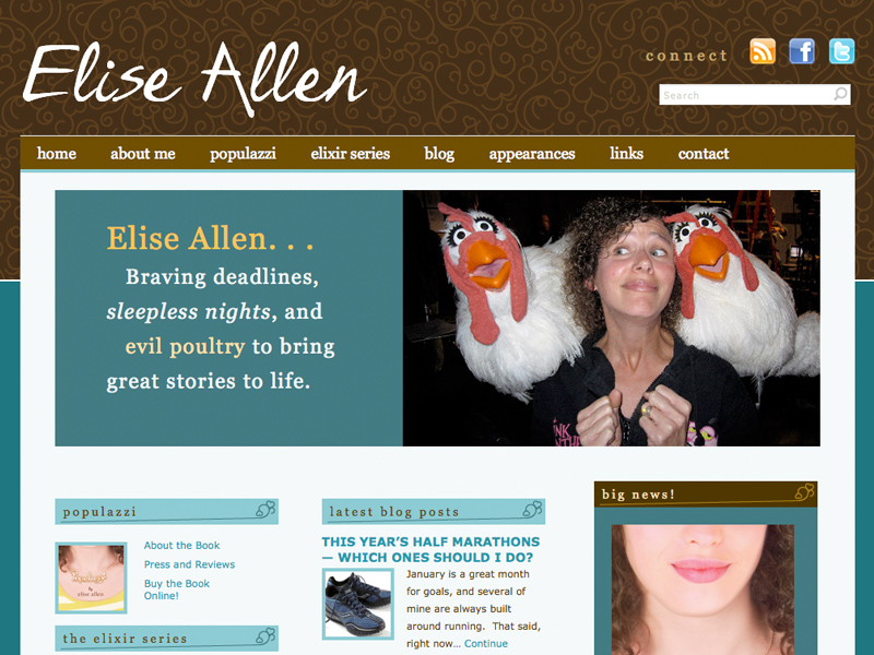 web design for author Elise Allen